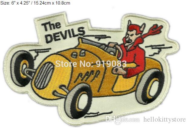 "6"" VINTAGE STYLE 1950s REPRO THE DEVILS MC HOT ROD CLUB ROCKABILLY GREASER Embroidered Motorcycle Biker Vest Patch IRON ON Badge"