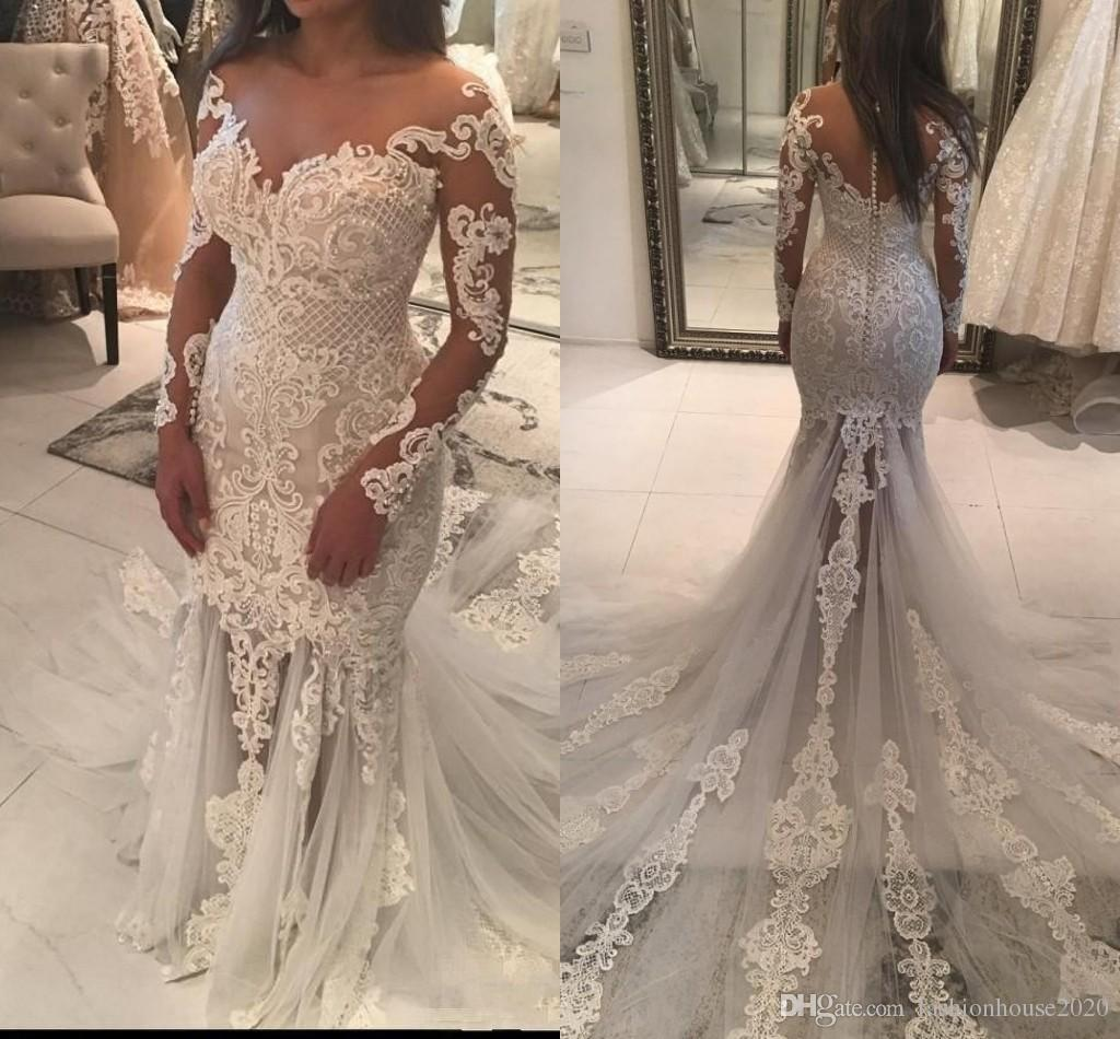 2017 Plus Size Mermaid Wedding Dresses Sheer Neckline Lace Appliques Beaded  Illusion Long Sleeve See Through Tulle Long Train Bridal Gowns Amazing  Wedding ... fd6a53a15598