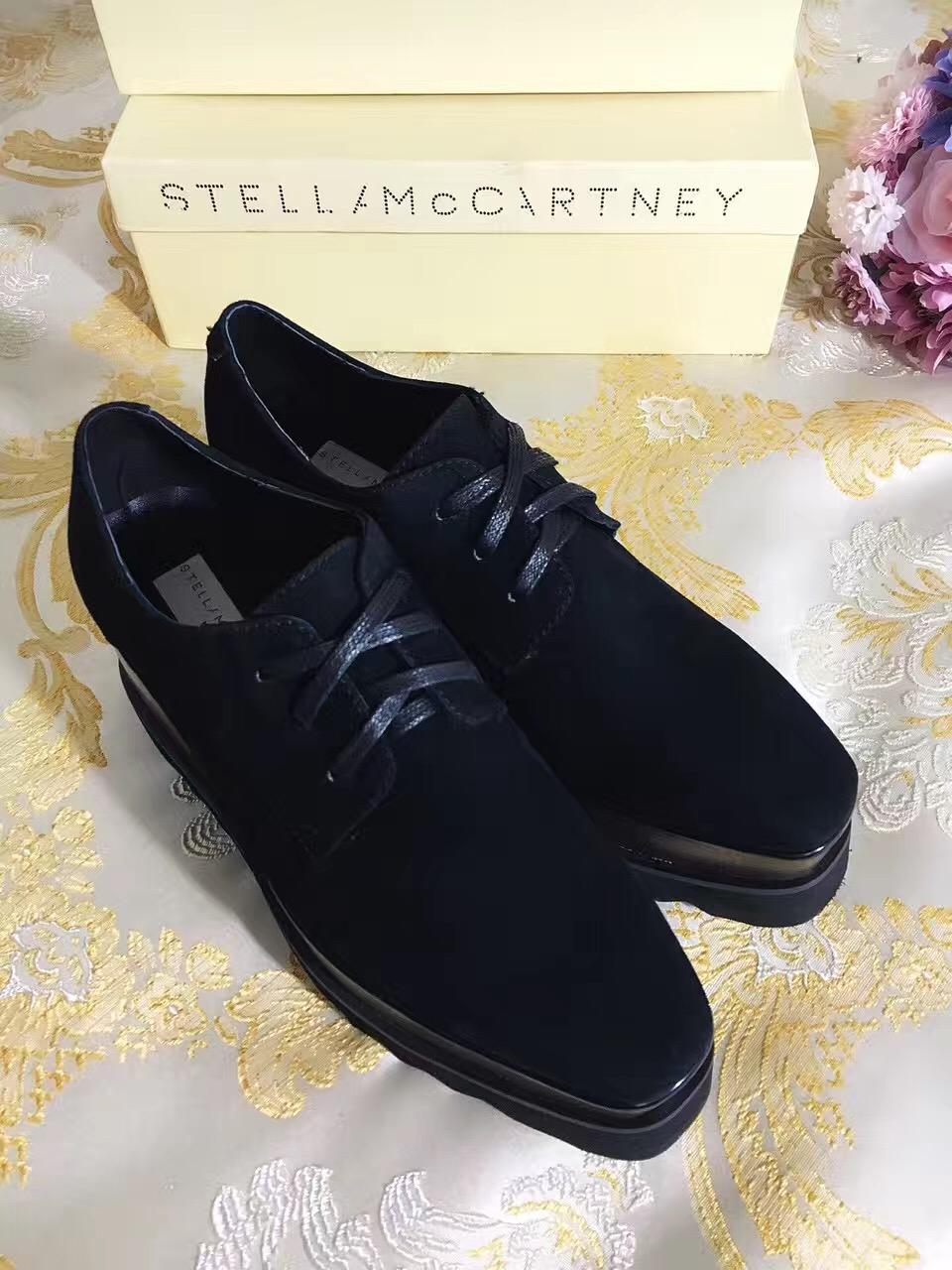 b5b80b3537e4 Stella Mccartney Platform Shoes Elyse Black Suede Sheepskin Leather Fashion  Lace Up Round Toe Comfortable Shoes Discount Shoes From Luischen