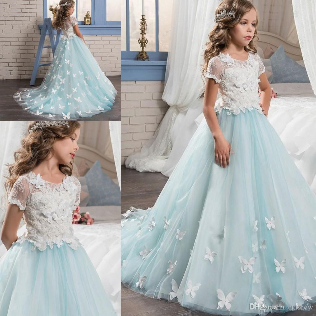 2017 New Short Sleeves Pretty Lace Applique Girls Pageant Dresses ...