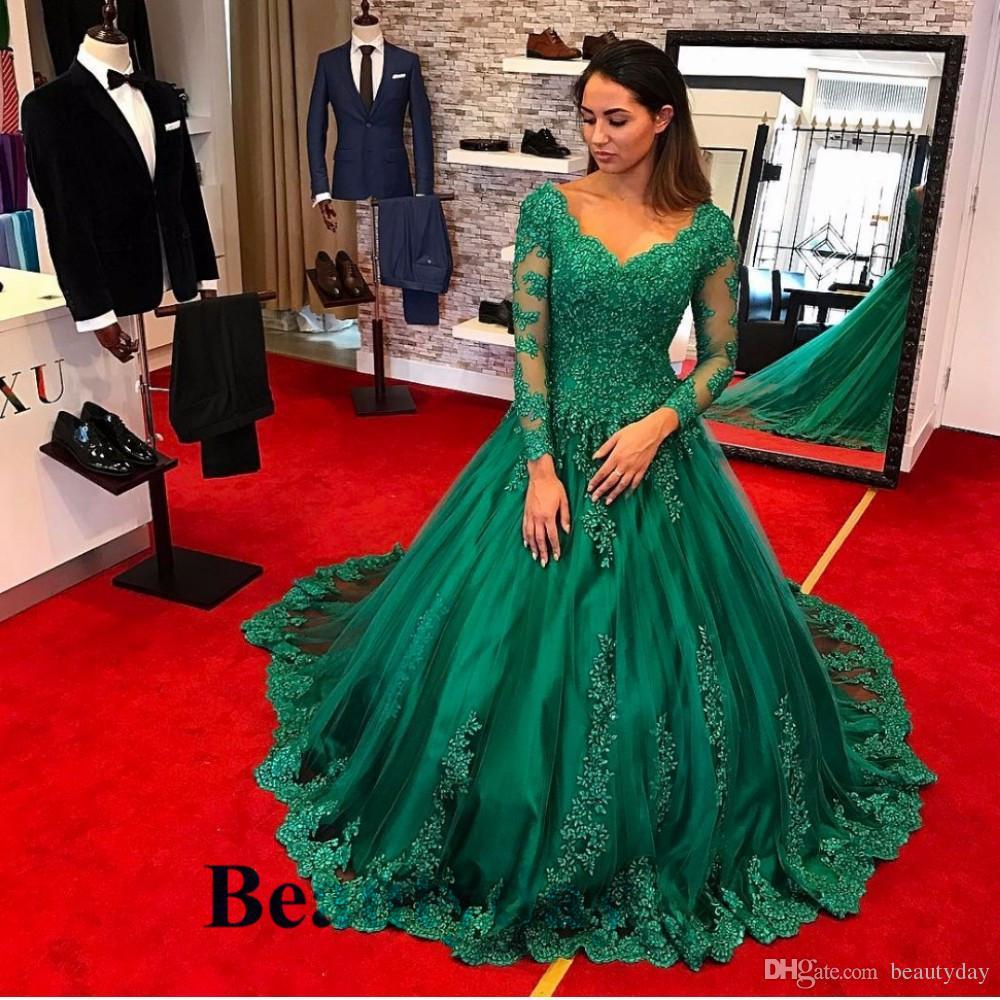 2020 Abiti da sera sexy con maniche lunghe Verde smeraldo Pizzo Pro Verde Plus Size Abiti celebrità Donne Abiti da festa formale Prom Rosso Carbet