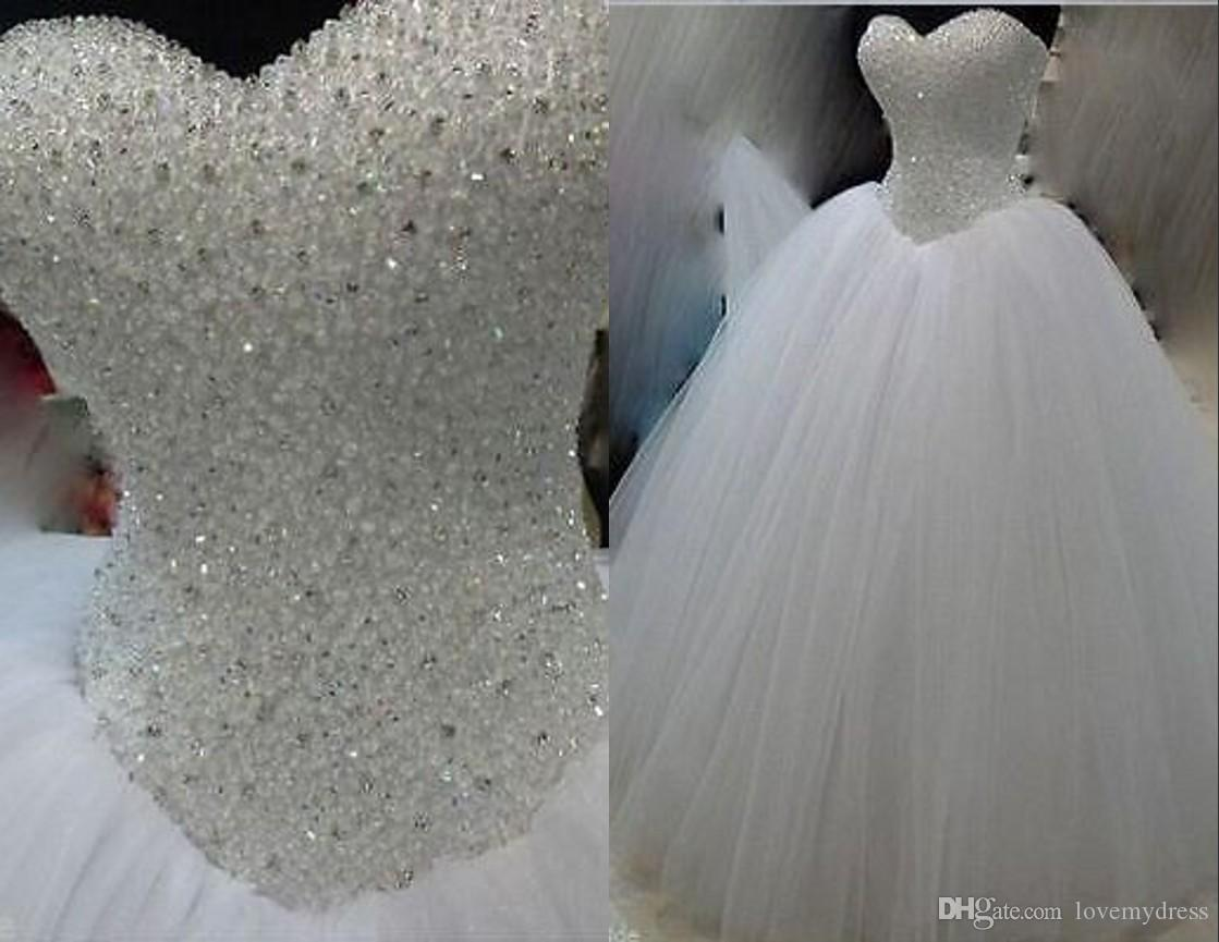 2533a059 Real Photo Bling Crystals Beaded 2018 Ball Gown Wedding Dresses Cheap  Sweetheart Tulle Long RHinestones Beaded Sequin Corset Back Weddings Ball  Gowns From ...