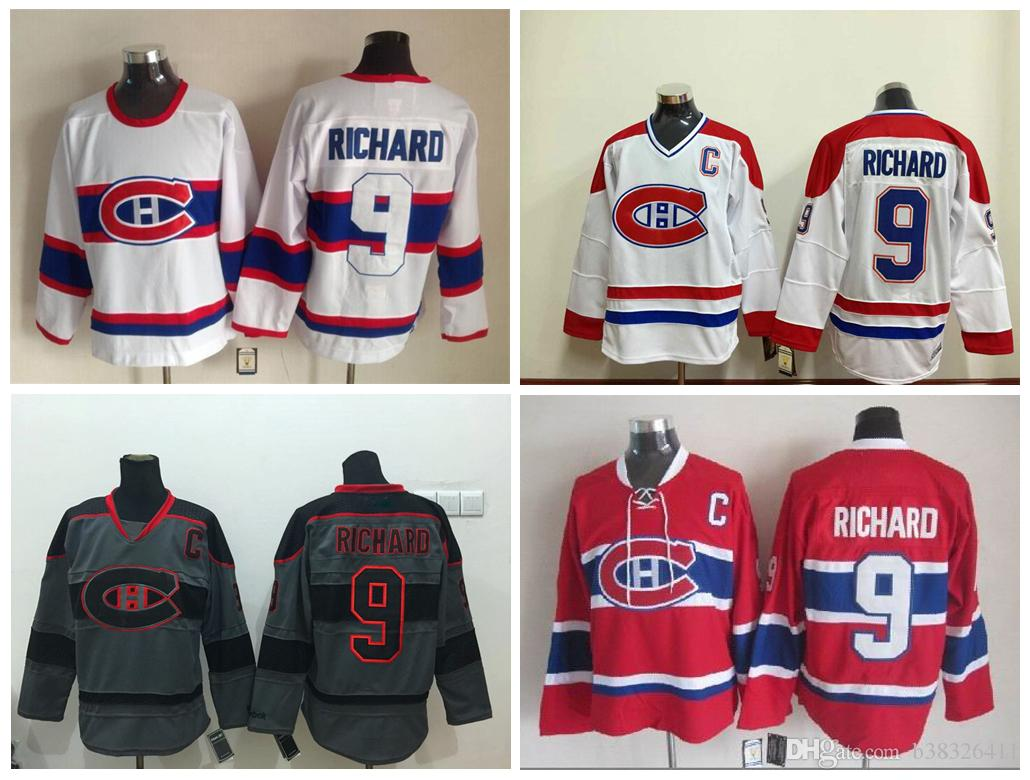 ... 2017 Wholesale Mens 9 Maurice Richard Jersey Montreal Canadiens Vintage  Retro Home Red Road White Ccm ... 52d143c96