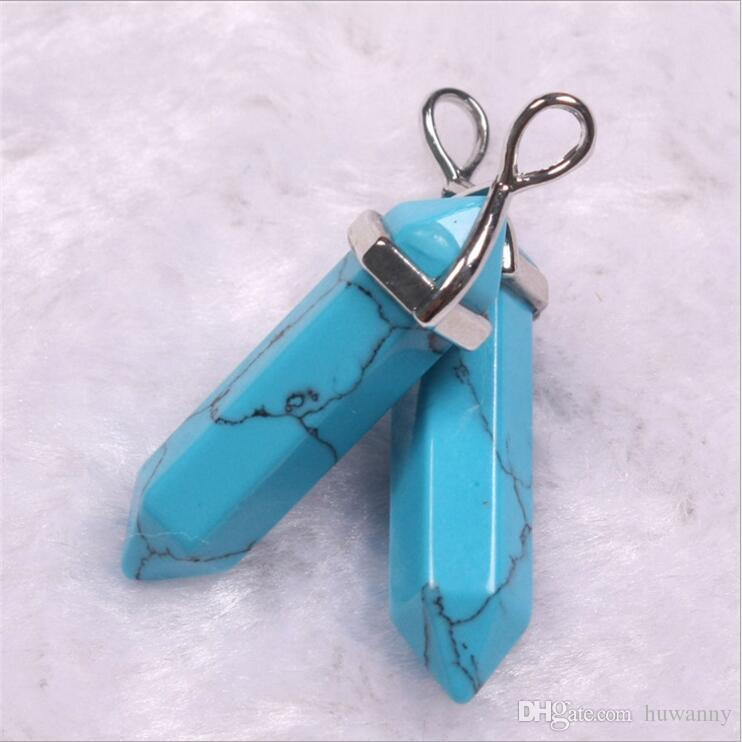 Collar de cristal colgante venta caliente Hexagonal prisma piedras preciosas de cuarzo punto colgantes collares para mujer joyería de moda al por mayor - 0573WH