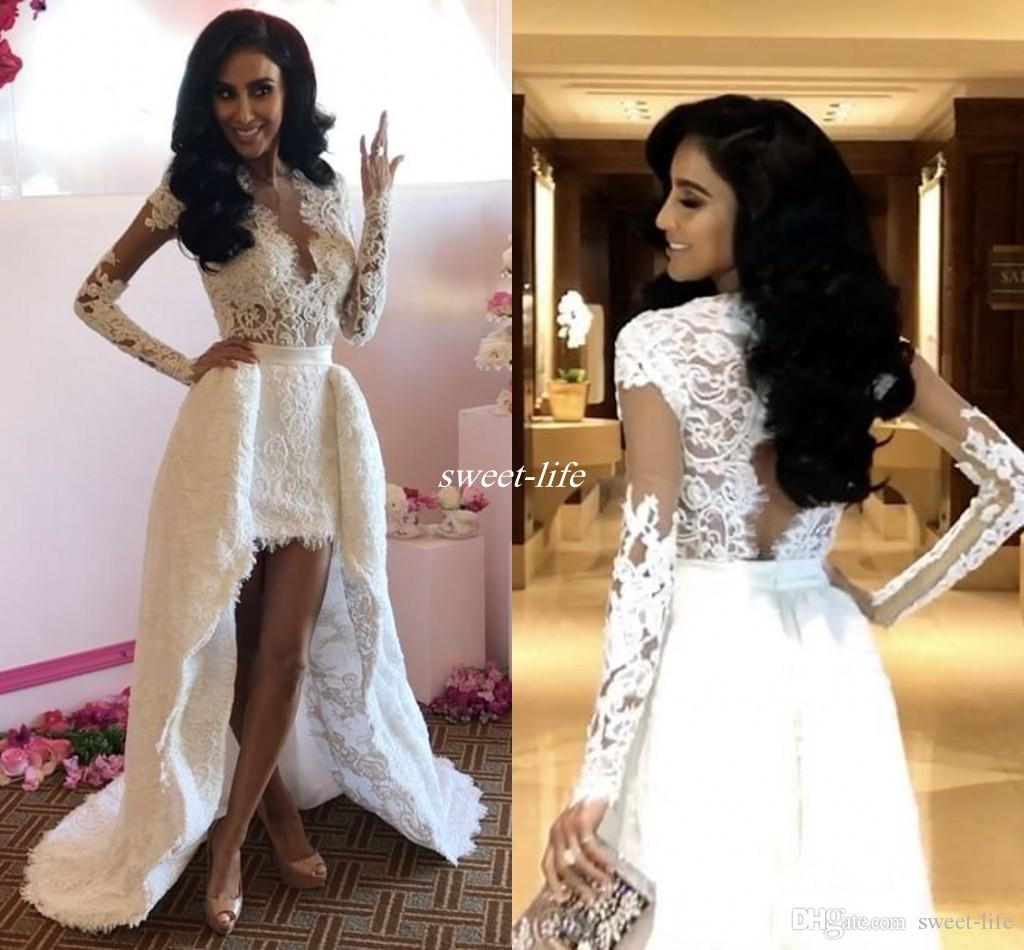 2d2bb6122d Discount Bohemia Lace Wedding Dresses High Low Open Back 2017 Sheer A Line  Plunging White Boho Beach Long Sleeve Bridal Dress Appliqued Wedding Gowns  ...