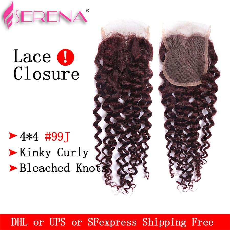 레이스 클로저 4 묶음으로 인간의 머리카락 번들 99j 클로저와 곱슬 머리 곱슬 머리 클로저와 브라질리아 번들 버진 인간의 머리카락 직물