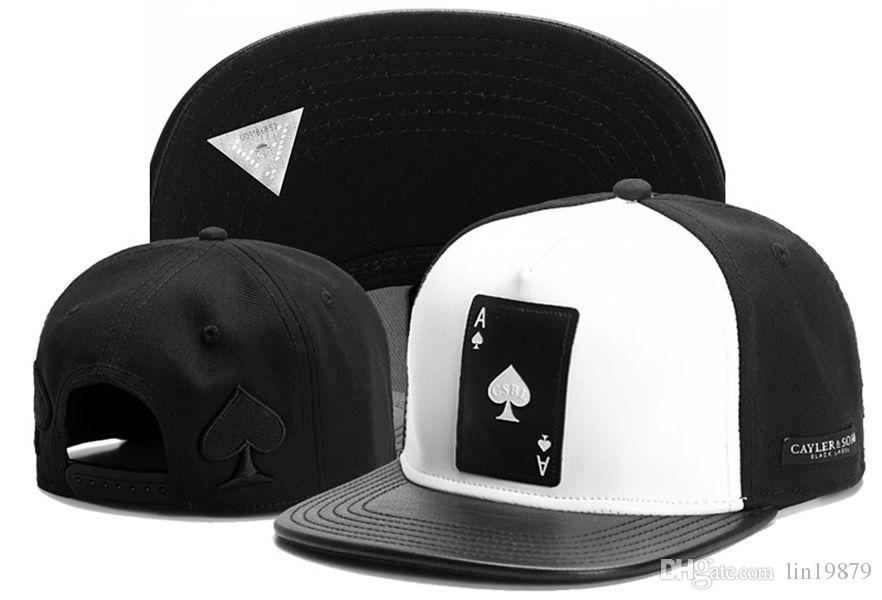Cayler   Sons The Ace Of Spades Leather Snapback Caps Bone NEW Quality  Unisex Fashion Brand Man Hip Hop Visor SnapBack Hip Hop Hats Gorras Trucker  Caps Flat ... 10049d7fcd5d