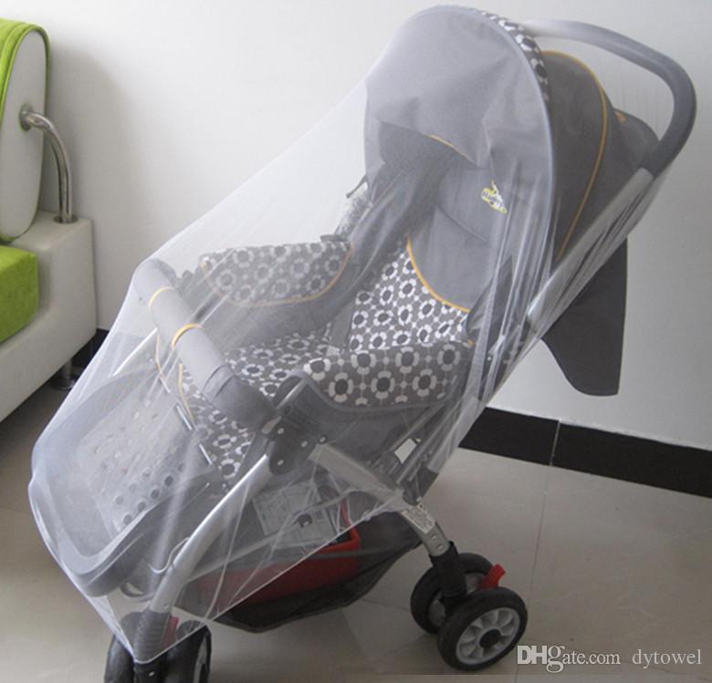 Comercio al por mayor 1 Unids Blanco Bebés Cochecito de Bebé Cochecito Mosquito Insectos Red de Malla Segura Buggy Cuna Red Carro Mosquitera para Cochecito de Bebé