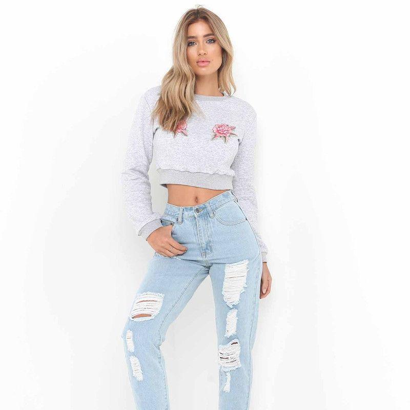 2017 Autumn Women Crop Tops Sweatshirt Flowers Embroidery Long Sleeve Cotton Top Tshirt Lady's Short Sweatshirts Gray C3112