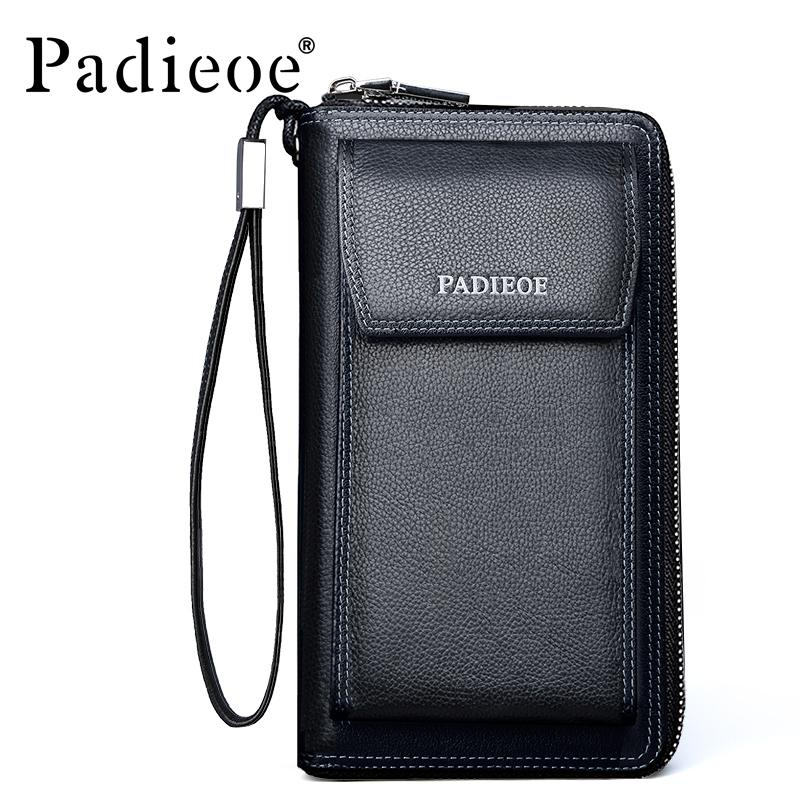 9550723a6e1eb Wholesale Padieoe New Fashion Men S Genuine Leather Wallets Casual Mens  Phone Bags Business Men S Wallet Purse Leather Zipper Wallets Tignanello  Wallets ...