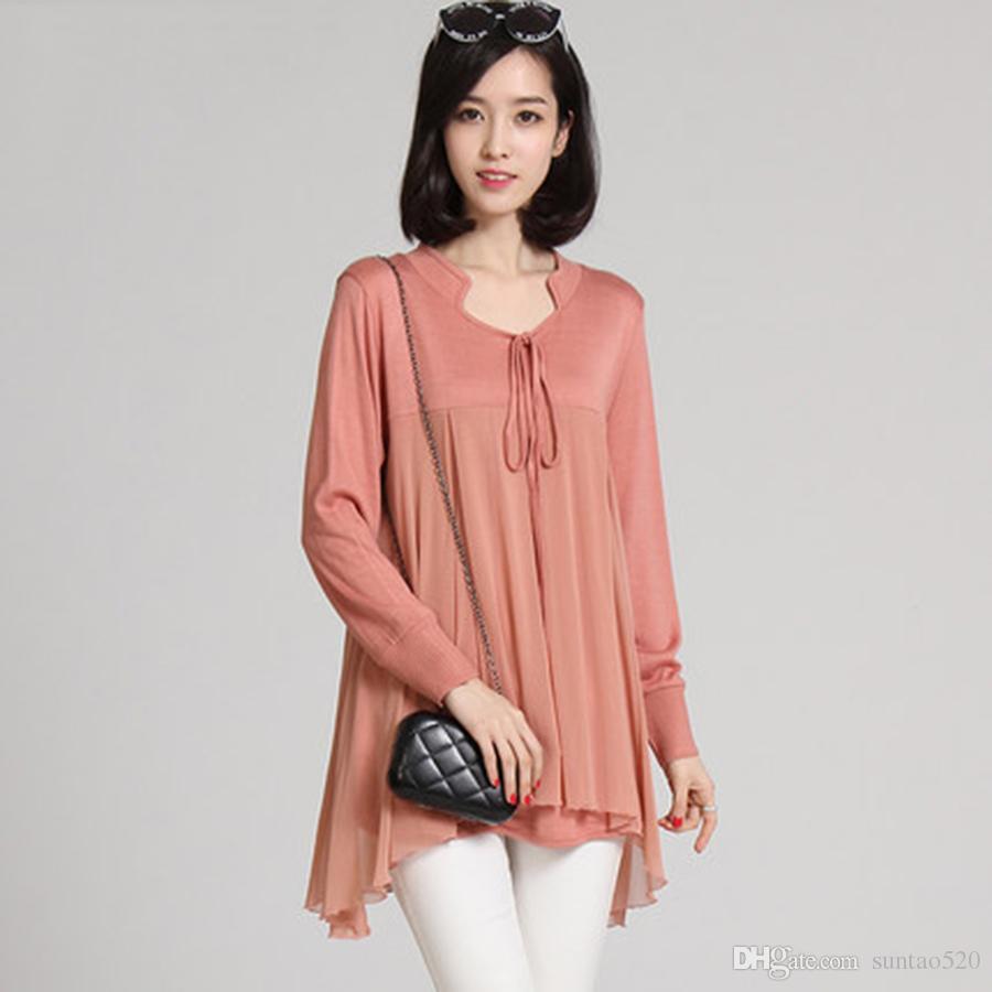 Ladies 2017 Women Chiffon Shirt Long Sleeve Loose Female Lace ...