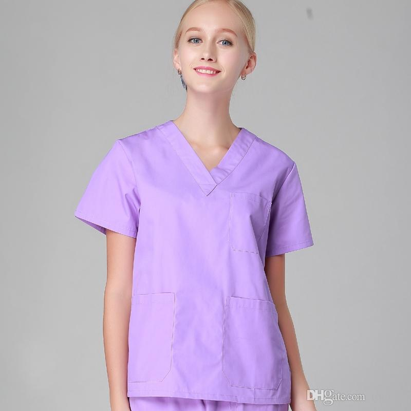 5ec6b49623d 2019 Women Men Hospital Clinic Doctor Workwear Scrub Set Beauty Salon  Medical Robe Clothes Medical Clothing Nurse Uniform Top + Pants Purple From  Took11, ...