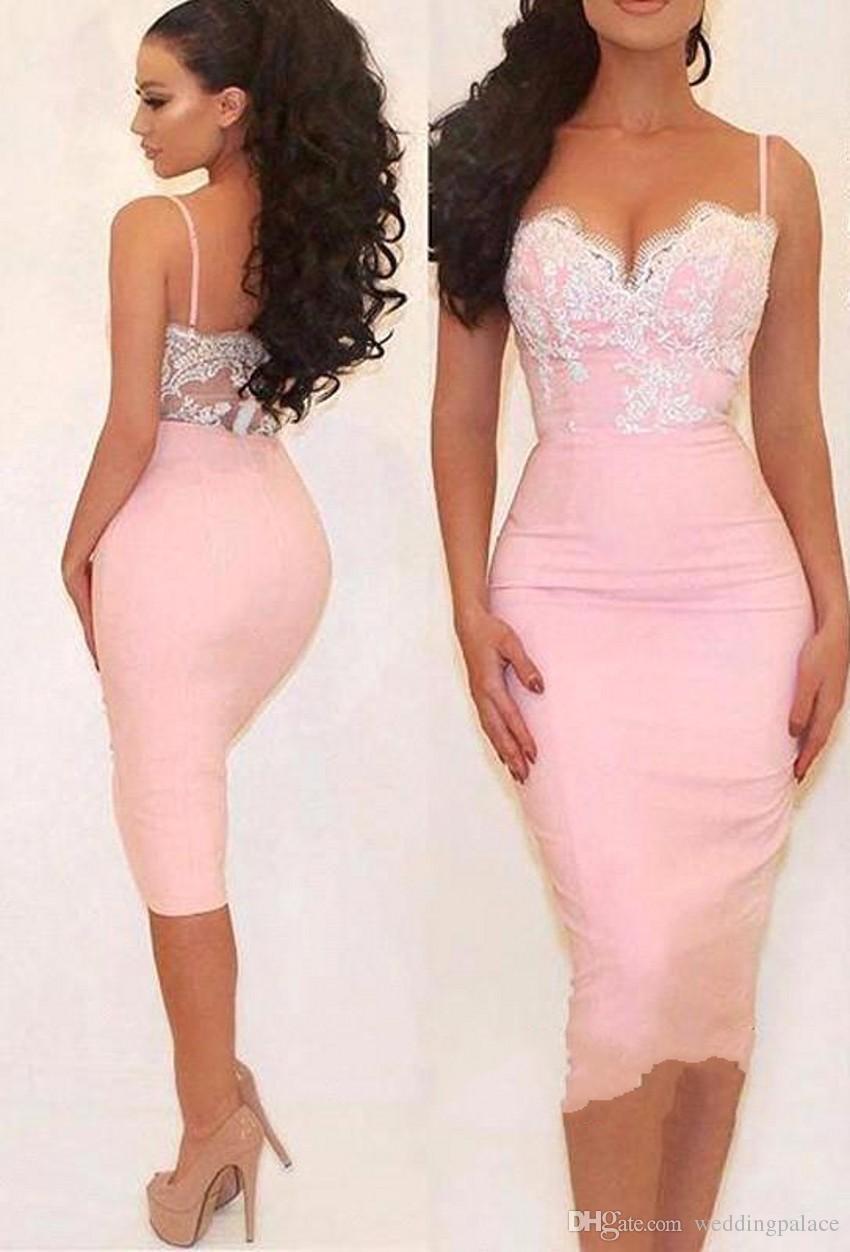 La última moda de color rosa cariño vestidos de noche cortos de encaje de satén con cremallera de baile vestidos de noche vestidos para ocasiones especiales