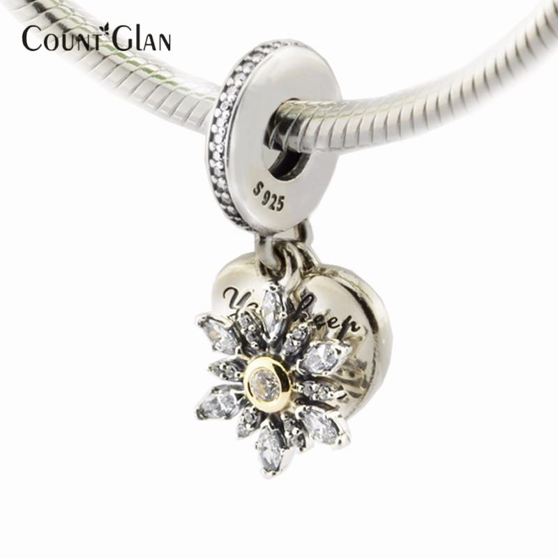 2016 Winter Beads Fits Pandora Charms Bracelets Snowflake Heart Clear CZ Beads For Jewelry Making 925 Sterling Silver Jewelry