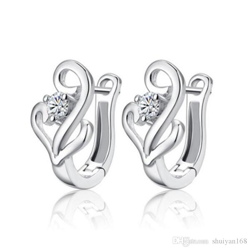 925 de prata esterlina banhado a jóia DHL popular movimento aros brincos para mulheres de luxo branco ouvido clipes de zircão Studs brinco presente de Natal