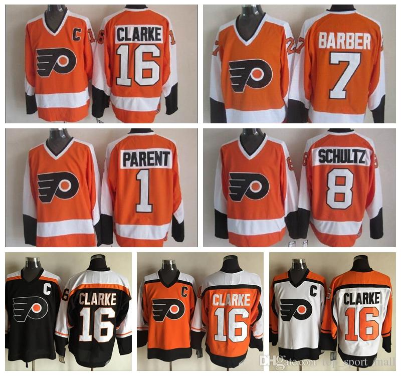 d3e67f101 2019 Men 16 Bobby Clarke Jersey Philadelphia Flyers Vintage 1 Bernie Parent  7 Bill Barber 8 Dave Schultz Stitched Hockey White Black From  Top_sport_mall, ...
