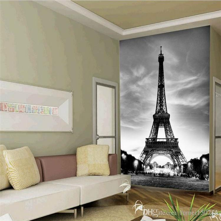 Glitter Wallpaper Nero Bianco City Building Parigi Eiffel Tower Pareti 3d Flooring Marble Vinyl Vintage Papel De Parede Pintado
