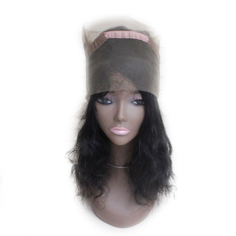 360 Lace Band Frontal Closure Brazilian Virgin Human Hair 1B Nautral Black 130% Body Wavy Swiss Lace 360 Front wigs