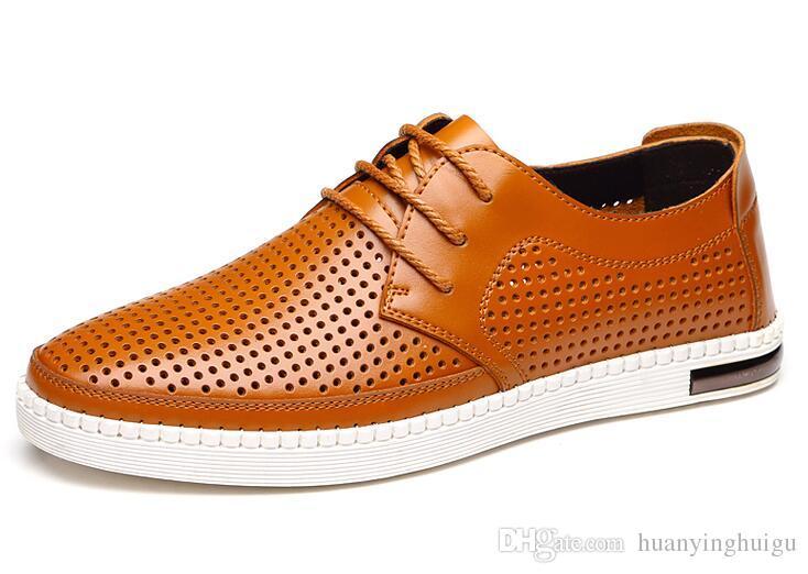 NUEVO verano Últimos zapatos de vestir para el novio Hombres transpirables Hollow out PU zapatos de cuero para hombres Agujero Agujero sandalias de cuero blanco / azul / marrón
