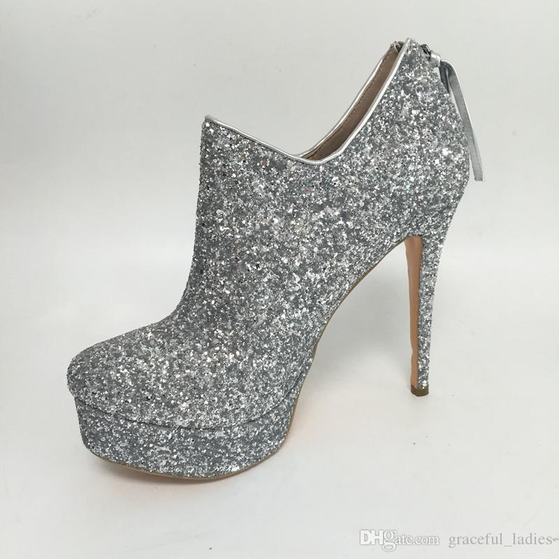 Silver Glitter Wedding Shoes Platform High Heels Custom Colors Bridal Accessories Bridal Pump Shoes Round Toe Large Size Shoes For Brides