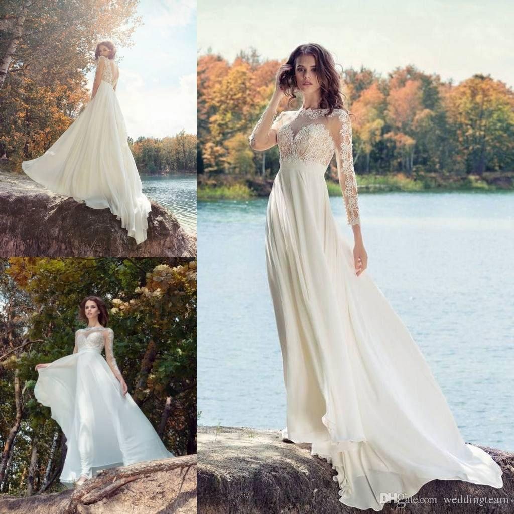 Fotos vestidos de noiva new backless bohemian wedding dresses sheer fotos vestidos de noiva new backless bohemian wedding dresses sheer bateau neck a line applique vestido de casamento de praia com mangas compridas chiffon junglespirit Image collections