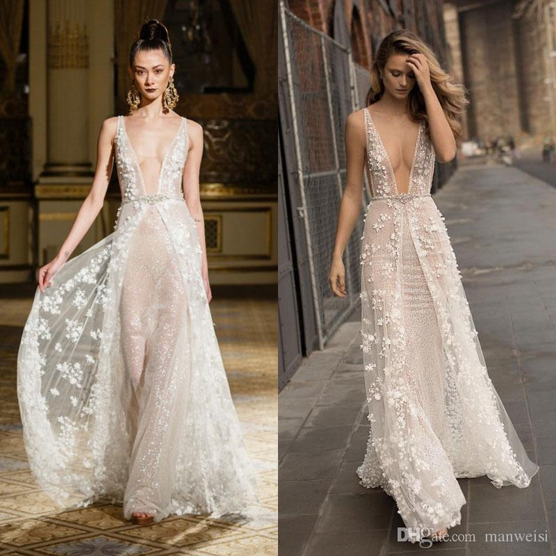 Discount Luxury 2017 Beach Overskirts Wedding Dresses Plunging ...