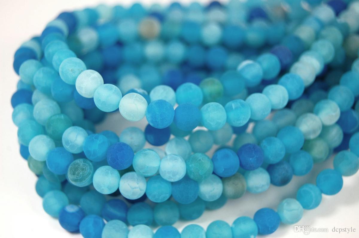 Fashion Diy 6mm Matt Blue Dragon Vein Agate Beads Full Strand Dragon ...