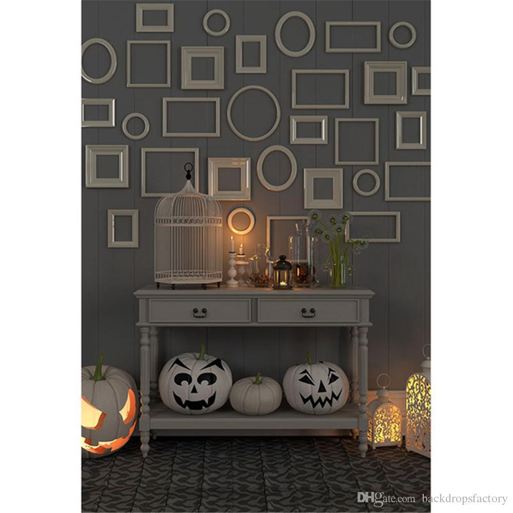 interior room halloween backdrops for photography circle square frames grey wall pumpkin lanterns children kid studio photo booth background halloween