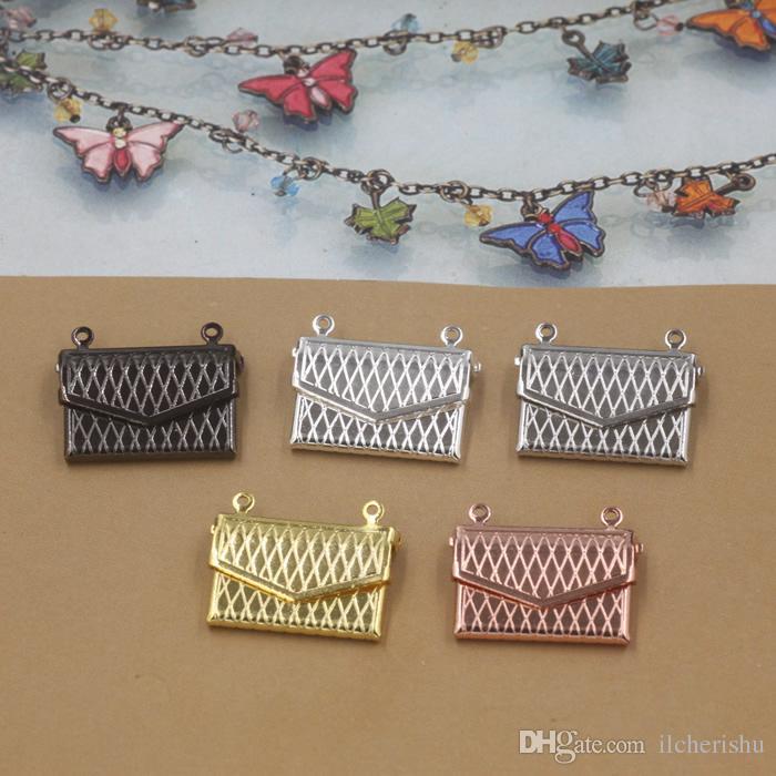 20*15*4MM Silver/antique bronze/rose gold/black gun envelope handbag photo locket charms jewelry, metal women lady picture frame pendants