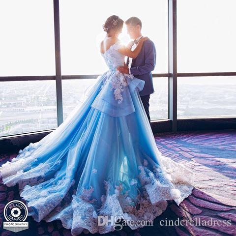 Discount 2017 Ocean Blue Colorful A Line Wedding Dresses Off ...