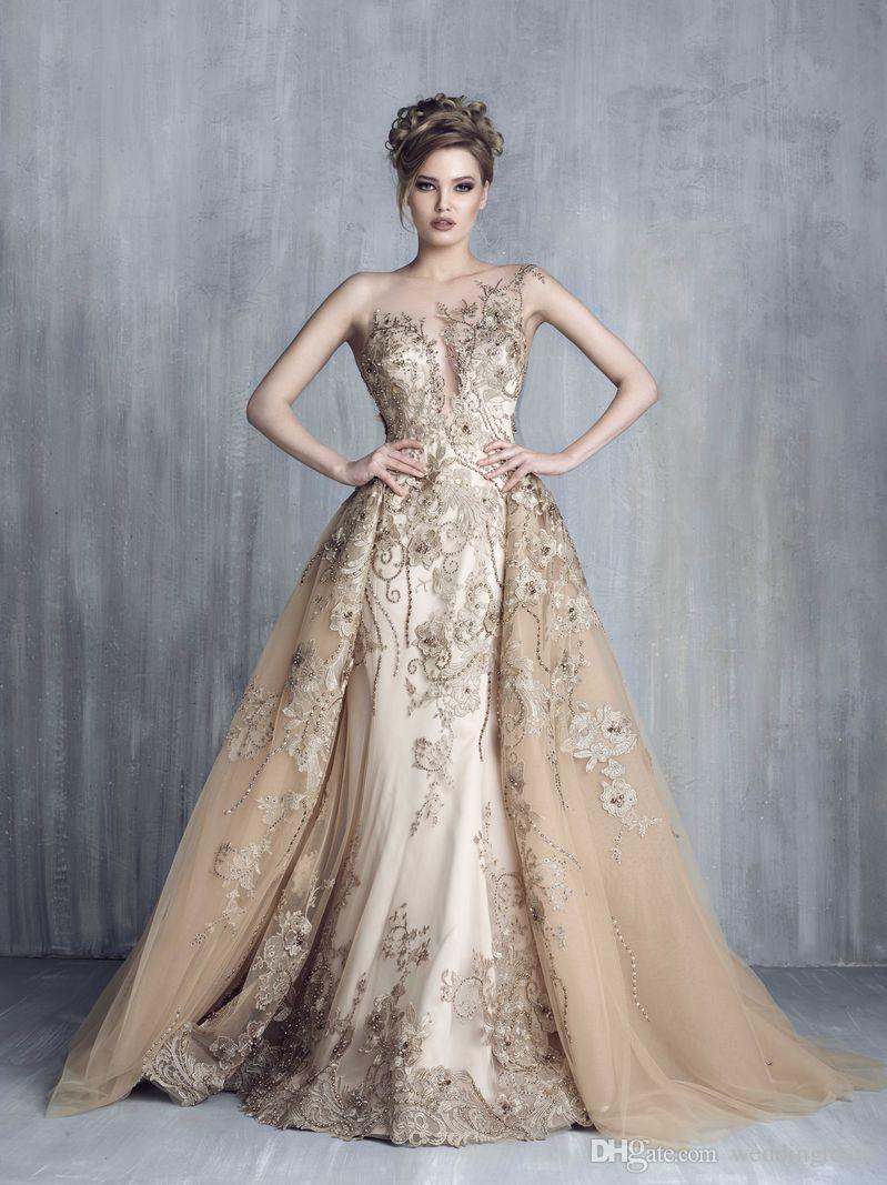 톱 샴페인 웨딩 드레스 인어 오버 셔츠 아플리케와 3D 꽃 얇은 명주 얇은 가운 진주 채플 기차 웨딩 드레스