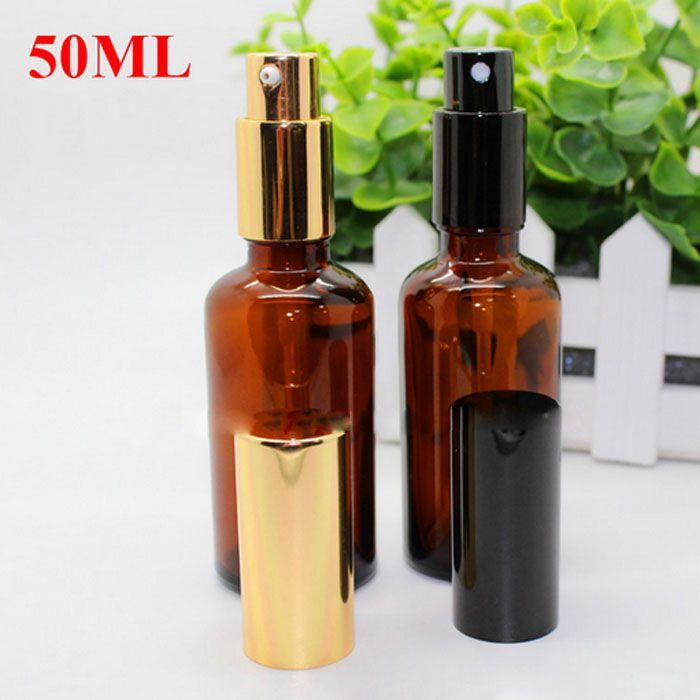Espessura 50 ml Amber Glass Spray Garrafas Atacado Óleos Essenciais Garrafa De Vidro Com Bomba Preta Pulverizador Tampa de Ouro Para Cosméticos Perfume Make Up