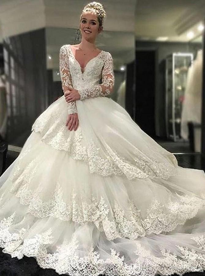 Compre Vestidos De Novia Con Cuello De Pico De La Boda A $159.67 Del ...