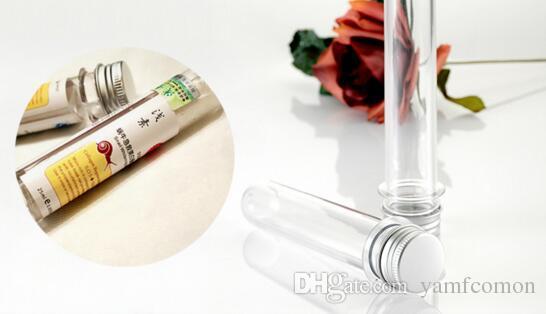 DHL Frete Grátis 100 pçs / lote 40 ml Transparente Máscara De Teste De Sal De Banho Tubo PET 40cc Claro Garrafa De Plástico Tubo Cosmético Com Tampa De Alumínio