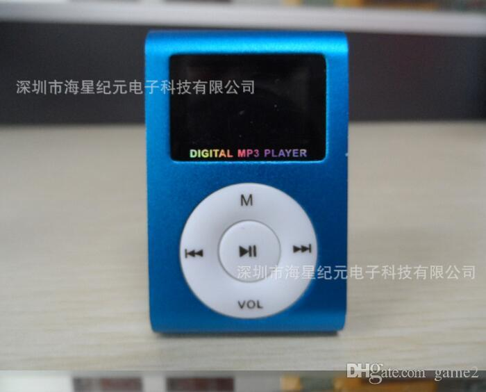 MP3 Player Mini Clip Music Player with LCD Screen Support Micro TF/SD Memory Card Come With USB Cables Earphones Crystal Retail