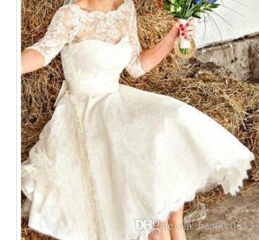2015 blanco / marfil 3/4 vestido de boda corto de la manga Jewel Lace té de la vendimia vestidos de novia en stock venta caliente
