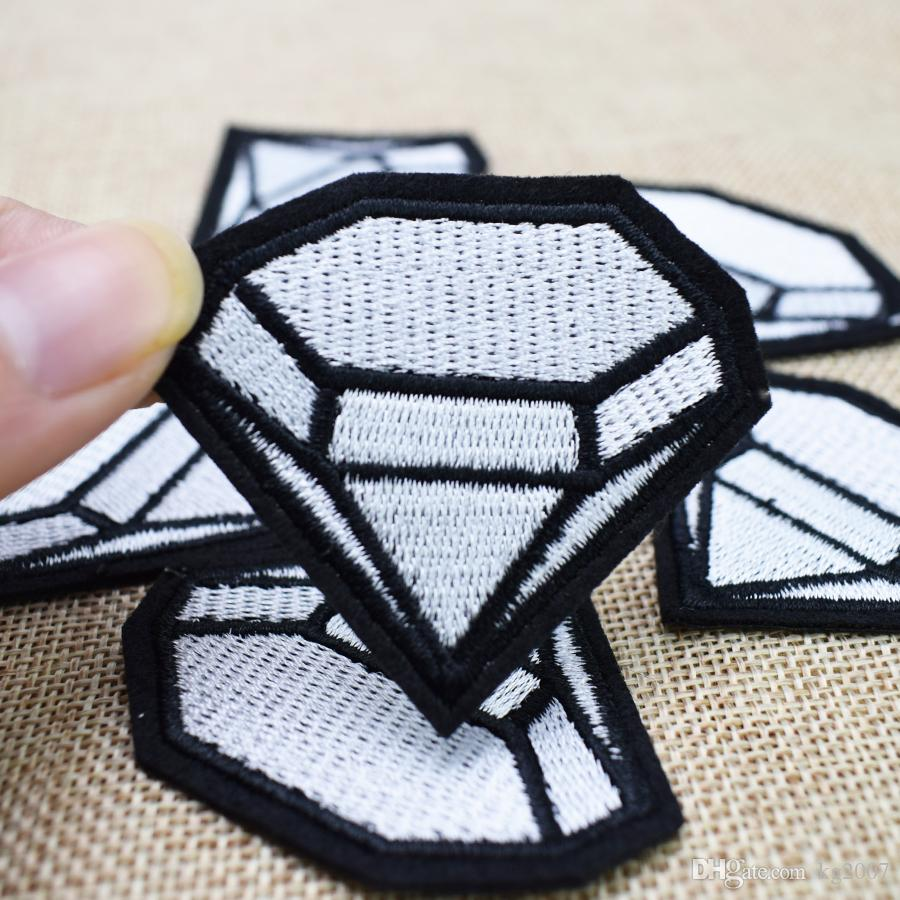 Large Diamond Badge Patches for Clothing Bags Iron on Transfer Applique Patch for Jacket Jeans DIY Sew on Embroidery Badge