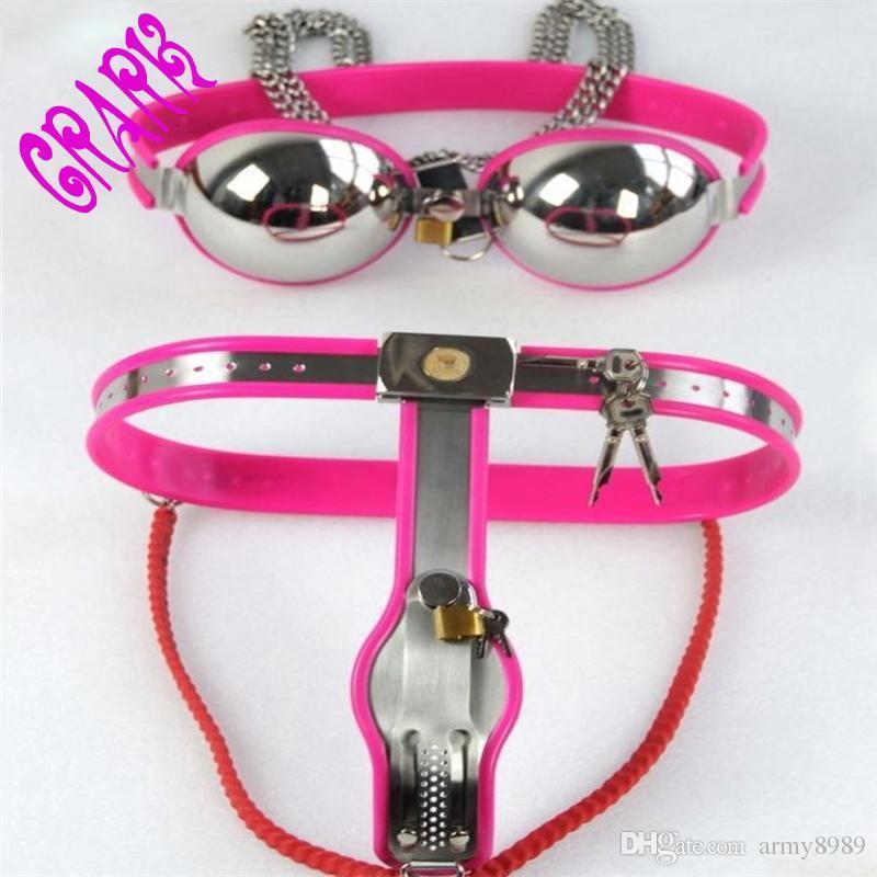 Cintura di castità femminile tipo Y sul dispositivo di castità, bondage Cintura in acciaio inossidabile, fetish, cosplay, giocattoli erotici sex shop