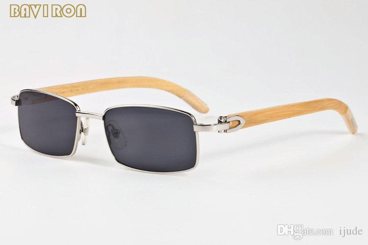 Com caixa de 2019 mens designer óculos de sol marrom preto claro lente quadrada de ouro de madeira de bambu óculos de armação de madeira óculos de sol