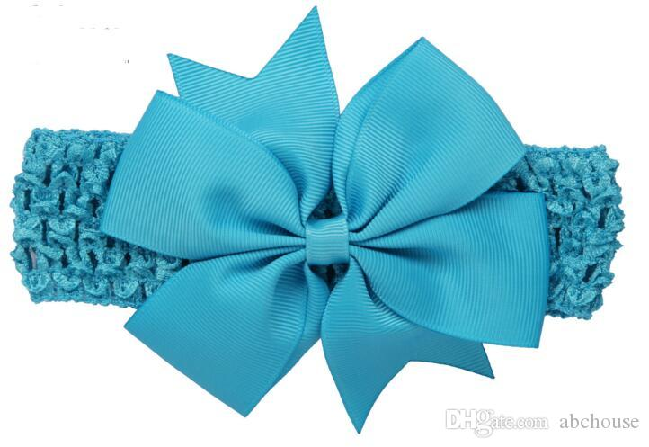 Baby Big Lace Bow Headbands Girls Cute Bow Hair Band Infant Lovely Headwrap Children Bowknot Elastic Accessories Butterfly Hair 20