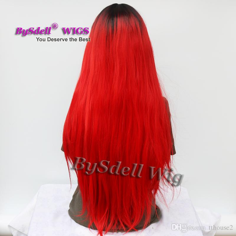 New Bright Red Color Hair Wig with Black Roots Synthetic Two Tone Ombre Red Hair Lace Front Wigs for Black or White Women