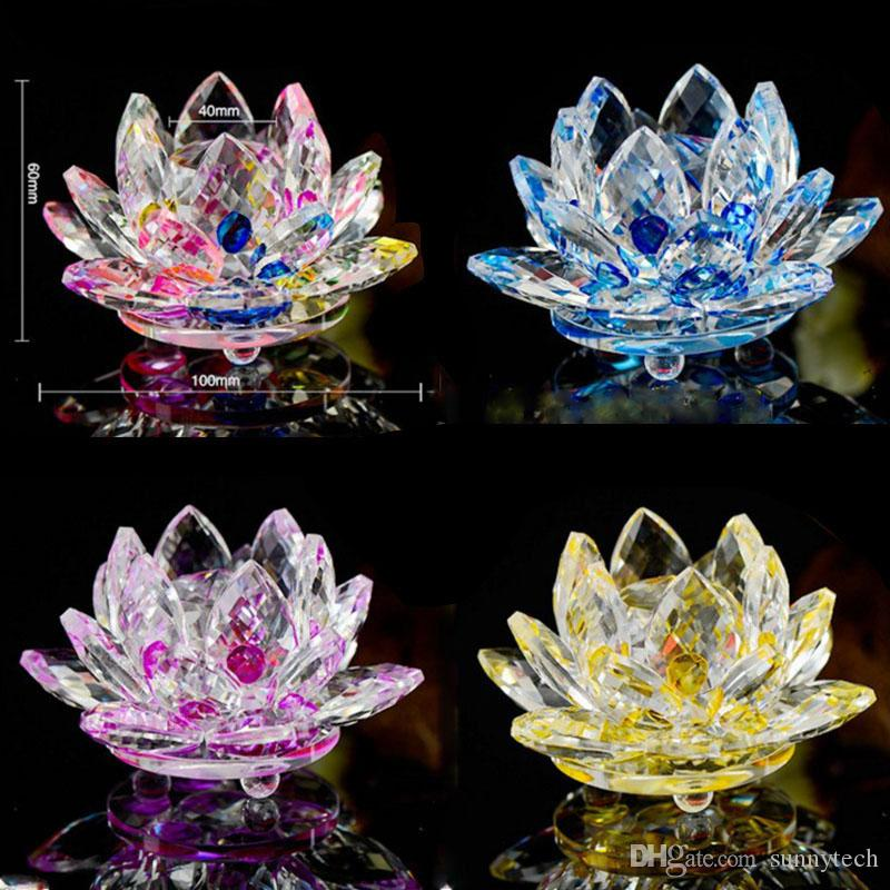 100mm k9 crystal lotus flower crafts feng shui ornaments figurines 100mm k9 crystal lotus flower crafts feng shui ornaments figurines glass paperweight party gifts wedding decoration souvenirs lz0058 small novelty gifts mightylinksfo