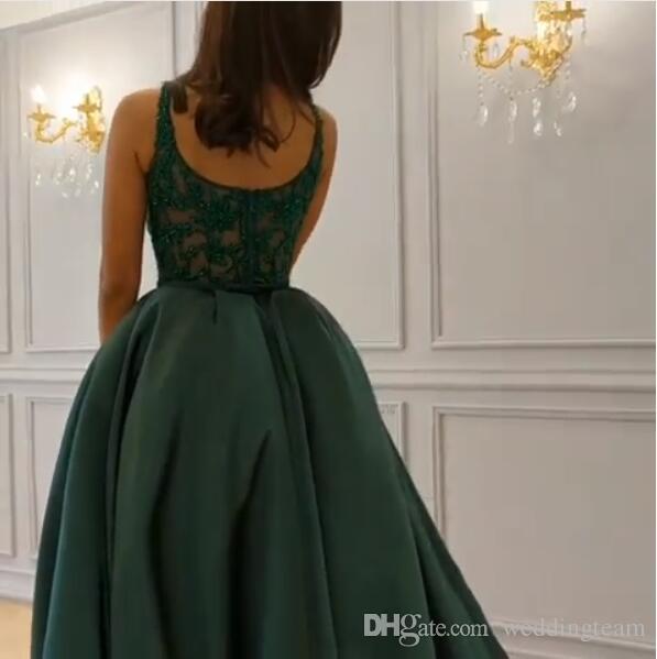 Hunter Yeşil Bölünmüş Resmi Ile Abiye Örgün Elbiseler Akşam Giymek Boncuklu Scoop Boyun Çizgisi Overskirt Abiye giyim Sweep Tren Balo Elbise