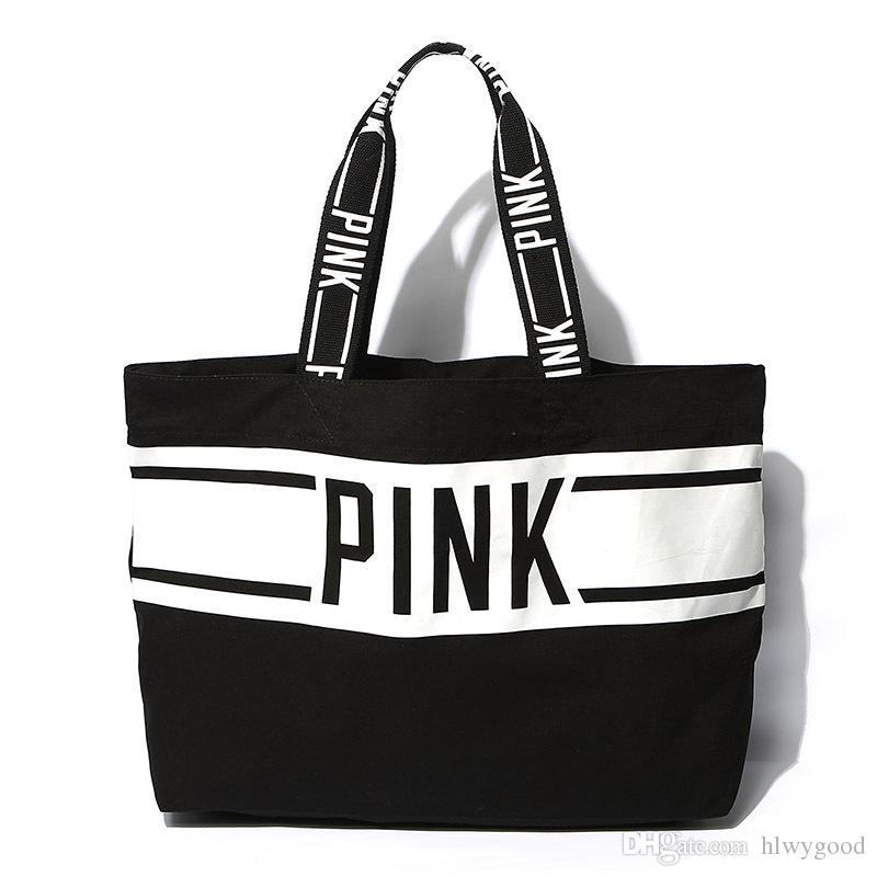 Großhandels-Nagelneue Frauen-Schulter-Beutel-Art- und Weiseschwarz-Streifen-Buchstabe-Handtasche beiläufige Einkaufstasche-Kurier-Taschen lieben PINK Beutel-Segeltuch bolsos