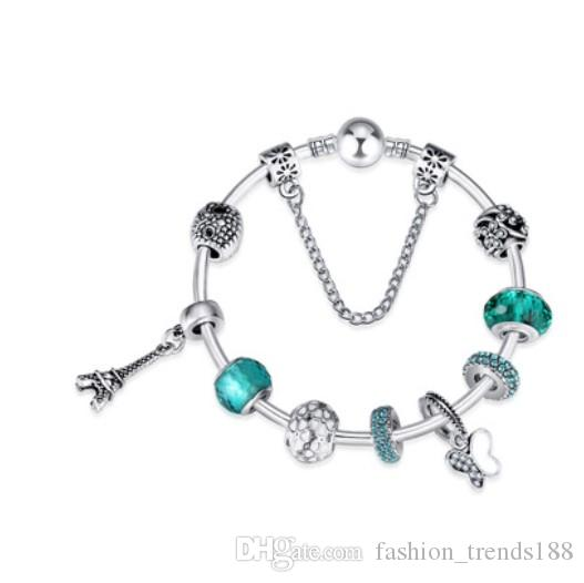 54fb00334 925 Sterling Silver Green Crystal Murano Glass Beads Butterfly Eiffel Tower  Dangle Charm Beads Fit Women Pandora Bracelet Bangle DIY Jewelry Bangle ...