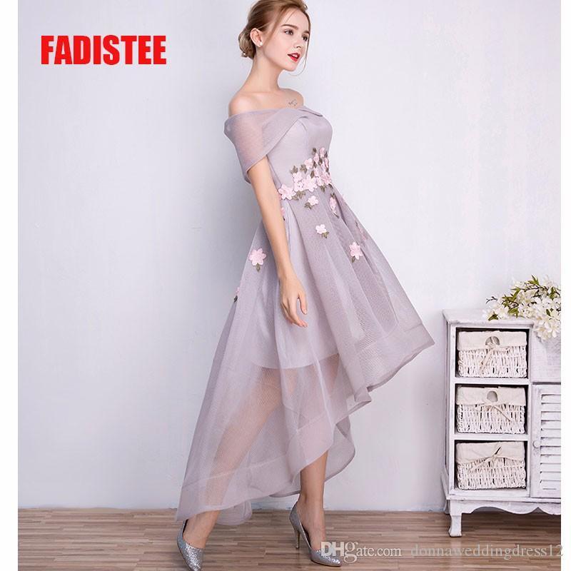 새로운 도착 파티 파티 드레스 높은 - 낮은 Vestido 드 페스타 무료 드레스 2017 이브닝 드레스 섹시한 드레스 appliques 오프