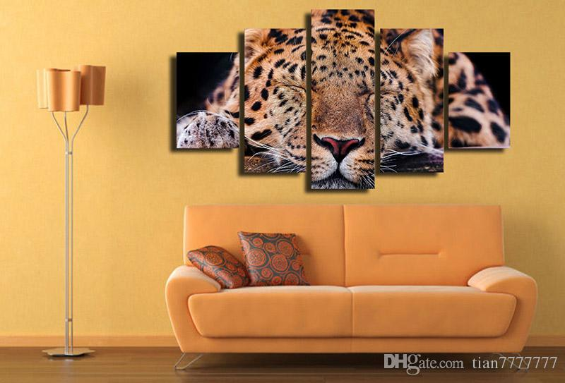 Home decor 5 Panel Animal Sleeping Leopard paintings on Canvas HD printed Modular Picture Home decor wall painting unframed