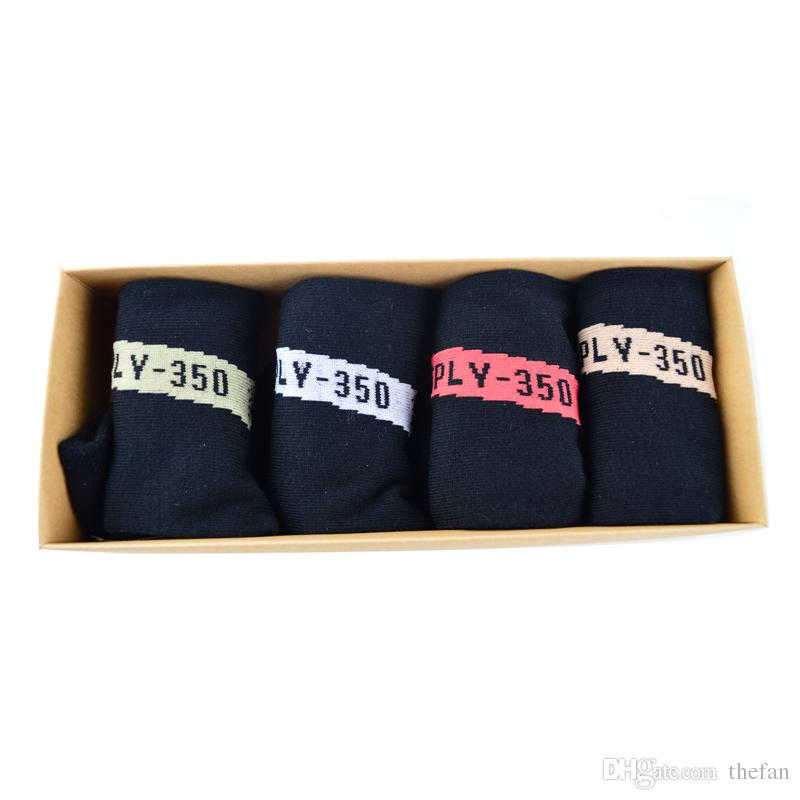 Boost 350 V2 Socks Kanye West SPLY 350 Sports Sock Short Athletic Socks One Box Men Women Soft Black Cotton Sock with Box
