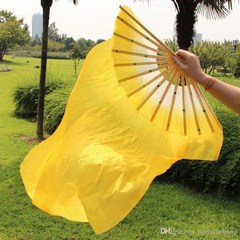 Chinesische traditionelle Seide-wie Fans Schleier mit 2 Seiten Farbverlauf Bühnenshow Requisiten lange Fans mit Pailletten 1.8m ZA1657