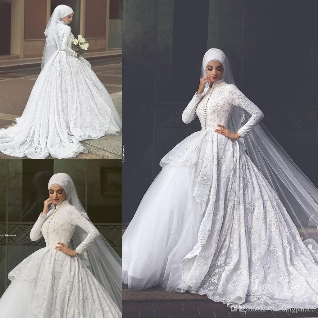 d5dc03003b5c Long Sleeve High Neck Muslim Wedding Dresses Appliques Button Up Back  Chapel Train Satin Beaded Plus Size Bridal Dresses Wedding Gowns Designer  Wedding ...